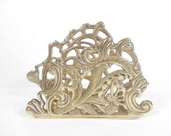 Vintage Brass Letter Napkin Holder - Vintage Brass Desk Letter Holder - Decorative Brass