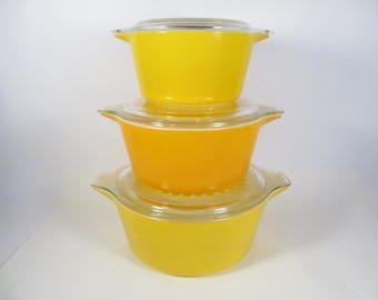 Vintage Pyrex Yellow Daisy Nested Cinderella Casseroles - Three Yellow Daisy Sunflower Casseroles