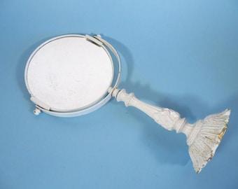 Mid Century White Painted Metal Standing Vanity Mirror