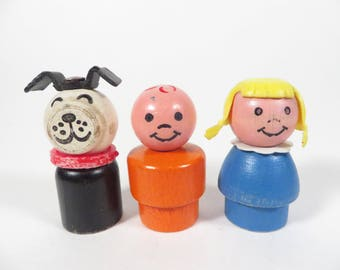 Vintage Fisher Price People Wood Heads - Trio of Fisher Price People