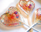 CHAMPAGNE HEART LOLLIPOPS,  Glitter Pops, Multi Colors, Valentines Day, Gift, Gifts