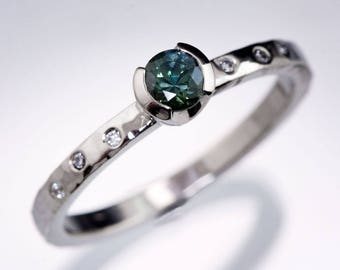 Round teal Green-blue Montana Sapphire Palladium Half Bezel Hammer Texture Engagement Ring Canadian Diamond Accents ready to ship size 4 - 9