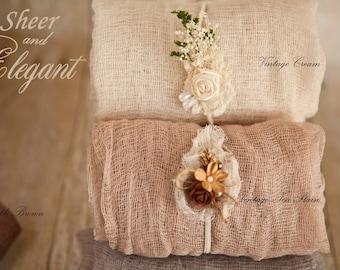 4 Item Sheer n Elegant 4'Neutrals Newborn Baby Swaddles Set w Coordinating Rustic Headties 4 item Sheer Cheesecloth Swaddle set 100% cotton