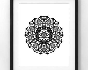 Downloadable Art, Mandala, Interior Design, Minimalist Art, Modern Art, Black and White, Printable Download