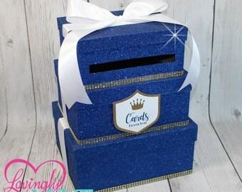 Cardbox -  3 Tier Fine Royal Blue Glitter, Gold Rhinestones & White Satin Ribbon - Gift Money Box for Any Event - Royal Prince Princess