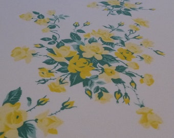 Yellow Roses Tablecloth WIlendur Rectangular table cloth 50s   54 by 84 inch