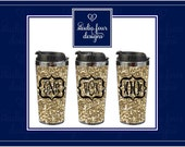 Monogrammed Glitter Travel Mug -  Travel Coffee Mug with lid
