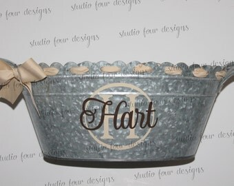 Personalized Beverage Tub, Galvanized Bucket, Tailgating Ice Tub - Assorted Colors Available