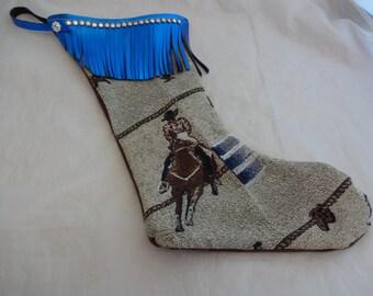 Christmas Stocking Western Barrel Racer Bling Swarovski Rhinestones Concho Metallic Leather Fringe Rodeo Horse Sock Gift Bag Wine Tote