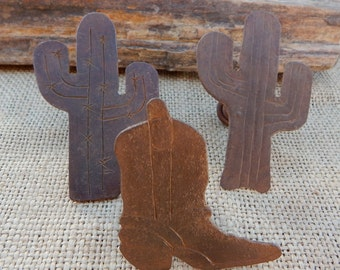 Rustic Metal Cactus and Cowboy Boot Drawer Pulls  Made in Mexico  ~  Rustic Metal Cactus and Cowboy Boot Knobs