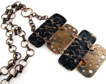 Stylish  Pendant.  Long Necklace .  Copper,  Oxidized, Hammered. Ready to ship..