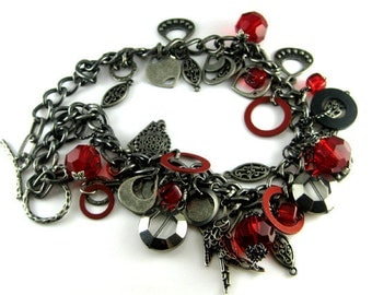 Stylish set - metal necklace and  bracelet. Hip, modern, metal, sparkly faceted glass  and fiber charms.   Ready to ship.