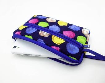 Ice cream zipper pouch, Wristlet wallet, Cosmetic bag, Cell phone bag, iPhone wallet case, Cotton zipper clutch