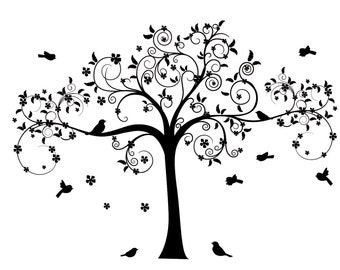 Family tree decal - tree decal - nursery tree - vinyl wall decal - wall art decal - birds - flowers