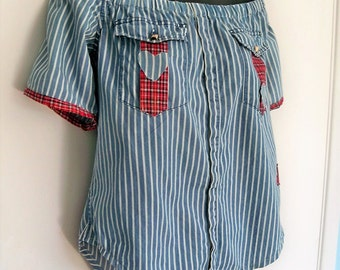 SALE   Off the shoulder pin stripe top, cold shoulder blouse, cow girl blouse, Festival top,  up cycled refashioned shirt, peasant top