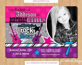 Rockstar Birthday Rockstar Invitation Rockstar Party Rock Star Birthday Invitations Girl Invitations Rock star invitations Rock star party