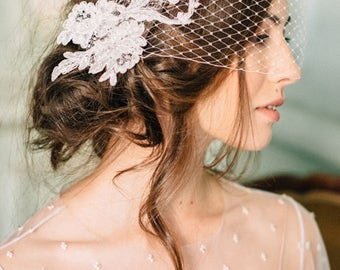 Bridal Birdcage Veil, Ivory Bandeau Veil, Russian netting, Blusher Veil , Lace Veil Wedding headpiece - Penelope
