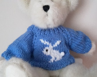 Teddy Bear Sweater - Hand knitted - Blue with White Rabbit Motif - fits 10 to 12 inch bear