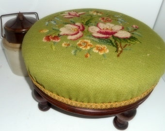 Footstool, Needlepoint Stool, Victorian Era Footstool, Mahogany Stool
