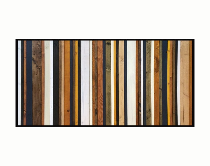 "Reclaimed Wood Art- ""Stormy Sky"" -in Browns, Tan, Navy, Cream and Gray Stripes - Modern Wood Wall Art - Abstract Wood Art"