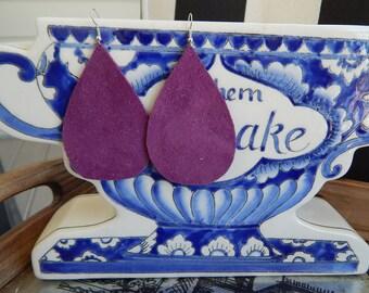 Large Purple Suede Leather Teardrop Earrings