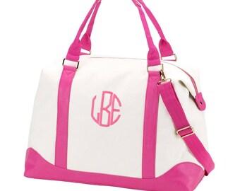 Canvas and Pink Weekender Bag. Monogrammed Overnight Bag. Hospital Bag with Monogram. Weekend Getaway.