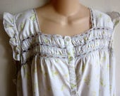 Vintage Cozy cotton nightgown button front free bust style plus size 3X