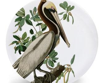 "Brown Pelican Bird Plate, Melamine Plate, Vintage Bird Illustration, Kitchen, decorative plate, gift, Dinner Plate, 10"" plate,"