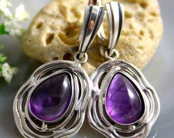 Amethyst Earrings Purple Stone Sterling Silver