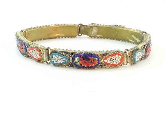 Antique Vintage Micro Mosaic Panel Bracelet. Signed Made In Italy. Colourful Art. Antique Italian Bracelet. Glass Art Bracelet. Mosaics