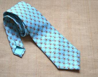 Vintage authentic Hermes Paris classic tie ducks ducklings pattern 100% silk tie 7932  MA sky blue tie  Made in France