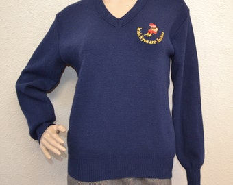 """Vintage Blainroe knit sweater made in Ireland """"Irish Eyes are smiling""""dark blue Pullover Jumper Cozy St. Patrick Size S New wave hipster"""