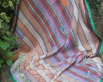 Heavy multicolor Kantha quilt, silk Kantha quilt, Vintage kantha, Sari throw, kantha blanket, Kantha throw, Indian quilt