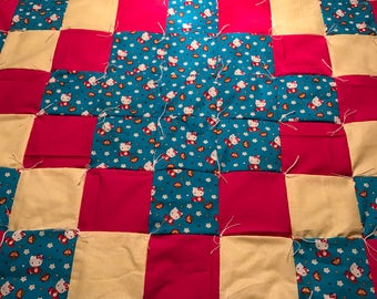 Tied Hello Kitty Crib Quilt for girls