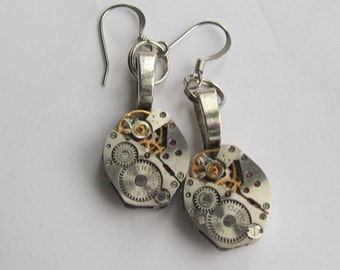 Steampunk Earrings Watch movements Industrial Gift idea Burning man Steampunk Jewelry Silver Steampunk  Gift for Her Birthday gift ideas