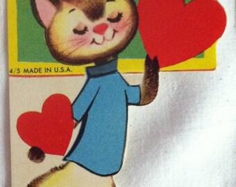Special Sale Three Vintage Cat Valentines Siamese Cat To My Teacher 1950's Saimese Kitty