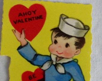 Special Sale Vintage Valentine 1950's Childrens Made in USA Cute Sailor Boy Ahoy Valentine Adorable Unused