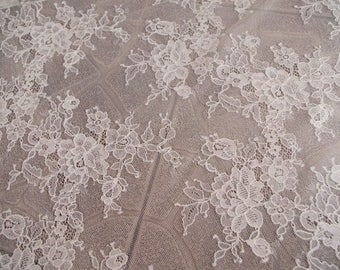 ivory chantilly lace fabric, bridal lace fabric with florals, French lace fabric by the yard