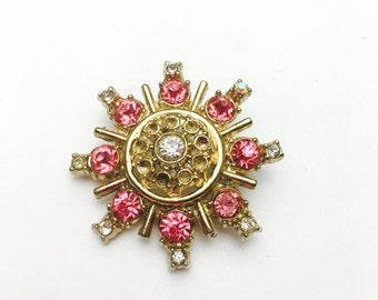 Pink STAR Brooch, Rhinestone, Gold Tone, Vintage Wedding Accessory, Item No. B377