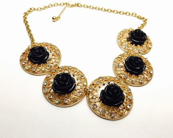 Black Flower Necklace, Vintage Round Gold Tone, Clear Rhinestones, Clearance Sale, Item No. B499