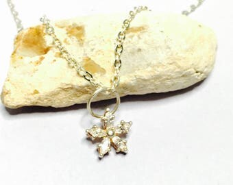 Vintage silver & clear CZ flower Pendant/Necklace, stamped .925, Clearance SALE, Item No. S001