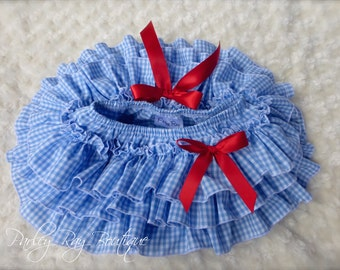 Parley Ray Dorothy Inspired Blue Gingham All Around Ruffled Baby Bloomers / Diaper Cover