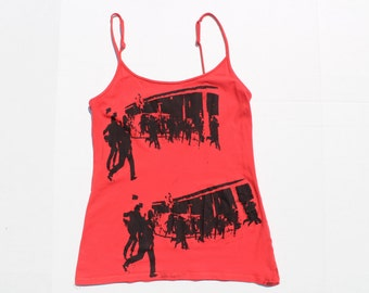 Punk Vest -  Riot The Clash London Calling - Tangerine Orange Red Strappy Tank Top- Screen printed -   Spaghetti Strap -grunge- SMall XS 32