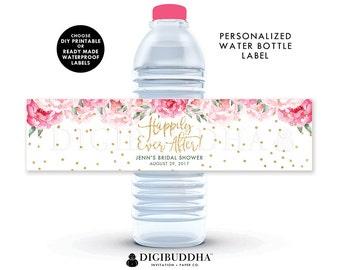 Floral Bridal Shower Water Bottle Label Water Bottle Label Custom Labels Custom Happily Ever After Printed or DIY Waterproof Labels - Jenn
