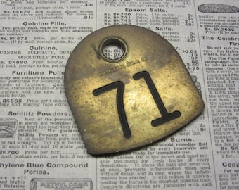 Antique Cattle Tag Number 71 Large Vintage Brass Tag Livestock Bull Tag #71 Tag Cow Tag Industrial Tag Numbers Lucky Number Keychain Tag