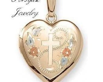 Small Engravable 14K Yellow Gold Heart Floral Vintage Style CROSS LOCKET Pendant