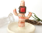 Limited edition Valentine's southwestern ceramic cactus ring tree, ring cone, cacti ring holder, ring dish, jewelry storage, pink & gold