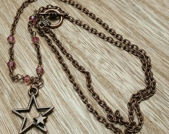 STAR BABY antiqued copper double star pendant pink glass bead chain necklace jewelry