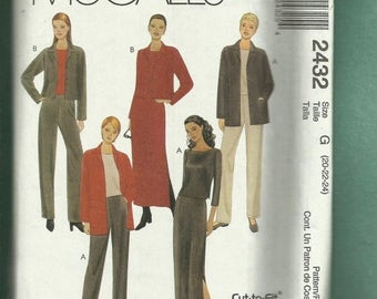 15% OFF SPRING SALE McCalls 2432 Modern Wardrobe Pattern with Endless Options Sizes 20..22..24  Uncut