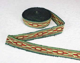 Woven Trim (6 yards), Woven Border, Cotton Ribbon, Grosgrain Ribbon, Dress Border, Border Trim, Ikat Fabric, R287